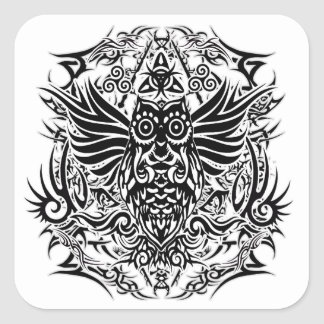 Hibou de tribal de tatouage sticker carré
