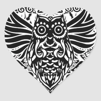 Hibou de tribal de tatouage sticker cœur