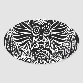 Hibou de tribal de tatouage sticker ovale