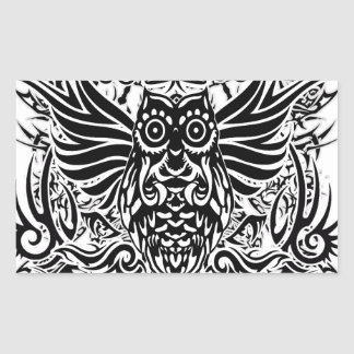 Hibou de tribal de tatouage sticker rectangulaire