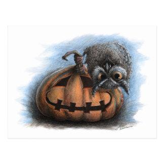 Hibou de vampire - carte postale de Halloween