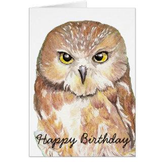 Hibou d'humour d'anniversaire d'amusement, oiseau, carte de vœux