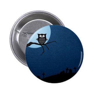 Hibou éffrayant de Halloween Badge Rond 5 Cm
