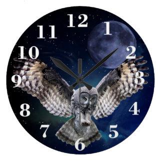 Hibou en vol grande horloge ronde