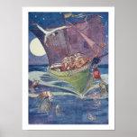 Hibou et le minou dans le bateau de vert de pois posters