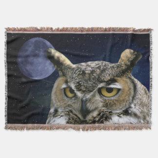 Hibou et lune bleue couvre pied de lit