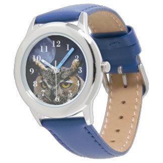 Hibou et lune bleue montres cadran