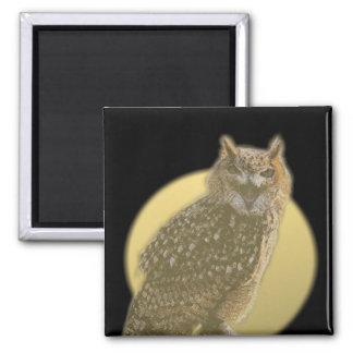 Hibou et pleine lune magnet carré