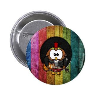Hibou frais drôle de rock&roll avec le jeu de perf badge