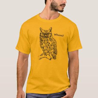 Hibou futé de hippie avec le noir en verre t-shirt