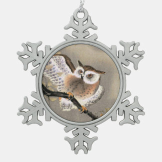 Hibou grincheux ornement flocon de neige pewter
