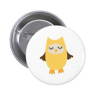 Hibou jaune mignon badge rond 5 cm