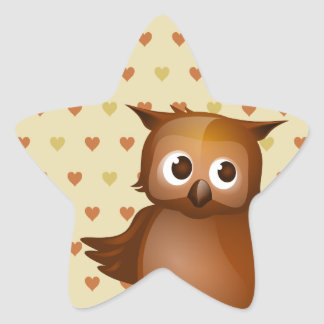 Hibou mignon autocollant en étoile