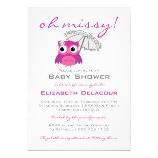 Hibou mignon avec l'invitation de baby shower de carton d'invitation  12,7 cm x 17,78 cm