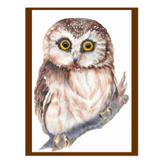 Hibou mignon - collection d'oiseau d'aquarelle carte postale