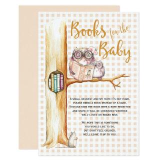 Hibou mignon dans la demande de livre de baby carton d'invitation 8,89 cm x 12,70 cm