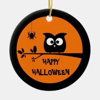 Hibou mignon de Halloween + couleurs customisées Ornement Rond En Céramique