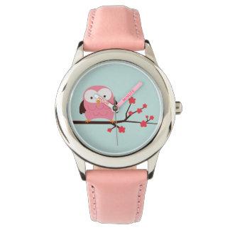Hibou mignon de rose de ressort montre
