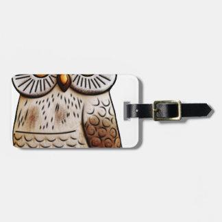 hibou mignon d'oiseau de hibou, mignon, oiseau, étiquette à bagage
