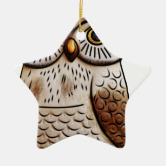 hibou mignon d'oiseau de hibou, mignon, oiseau, ornement étoile en céramique