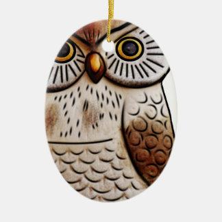 hibou mignon d'oiseau de hibou, mignon, oiseau, ornement ovale en céramique