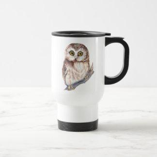Hibou mignon - oiseau d'aquarelle, nature, faune mug de voyage
