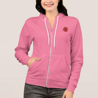 Hibou mignon sur l'arrière - plan rose de motif de veste à capuche