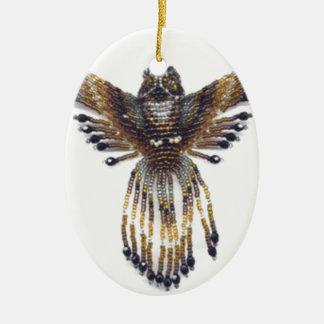 Hibou perlé à cornes ornement ovale en céramique