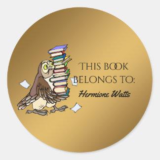 Hibou personnalisé d'ex-libris de bibliothèque sticker rond