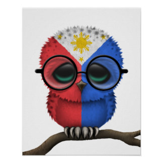 Hibou philippin ringard personnalisable de bébé poster