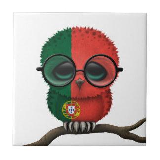 Hibou portugais ringard personnalisable de bébé petit carreau carré