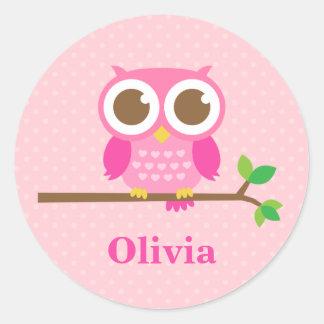 Hibou rose Girly mignon sur la branche pour des Sticker Rond