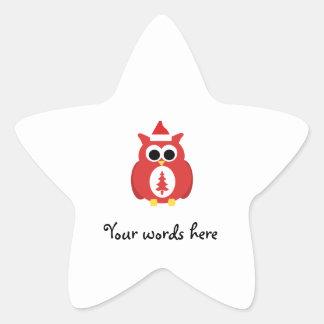 Hibou rouge de père Noël Sticker Étoile