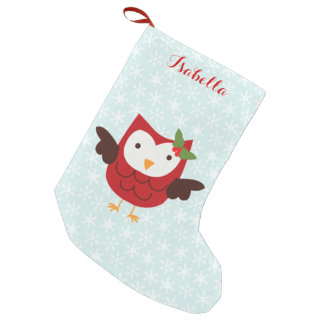 Hibou rouge de vacances personnalisé petite chaussette de noël