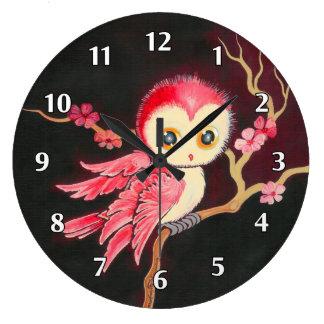 Hibou rouge doux grande horloge ronde