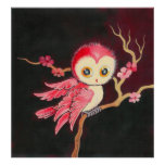 Hibou rouge doux poster