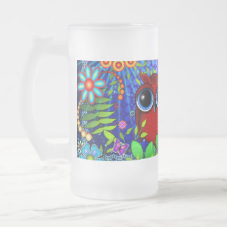 Hibou rouge sur le bleu frosted glass beer mug