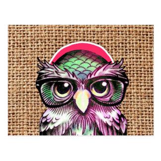 Hibou sage de tatouage coloré frais avec les carte postale