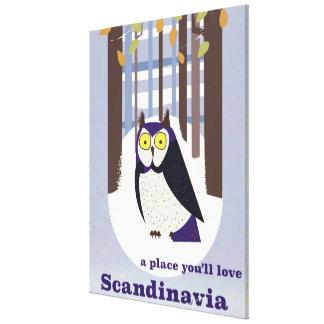 Hibou scandinave dans le poster vintage de forêt toile