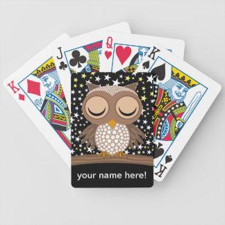 hibou somnolent mignon cartes à jouer