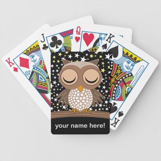 hibou somnolent mignon cartes bicycle poker