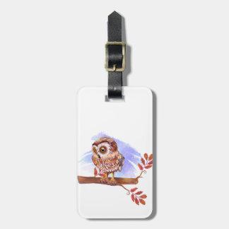 Hibou sur l'aquarelle de chêne étiquette à bagage