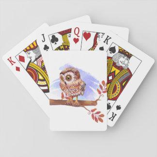 Hibou sur l'aquarelle de chêne jeu de cartes