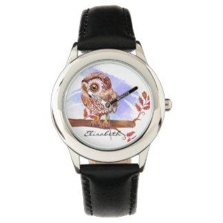 Hibou sur l'aquarelle de chêne montres bracelet