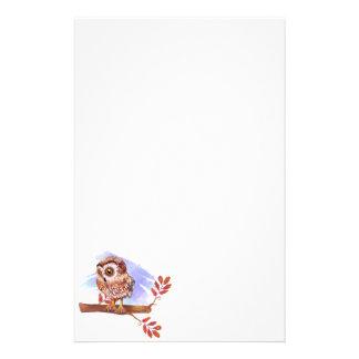 Hibou sur l'aquarelle de chêne papeterie