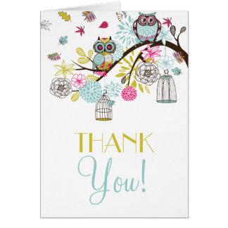 Hiboux colorés et carte de remerciements en baisse
