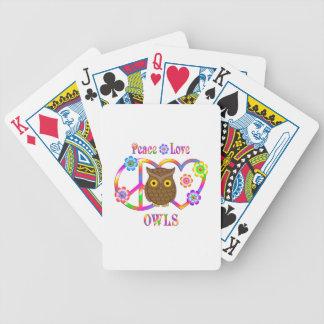 Hiboux d'amour de paix jeu de cartes