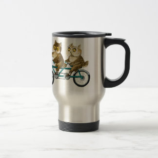 Hiboux de bicyclette mug de voyage