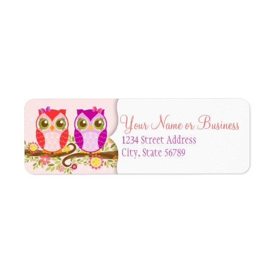 Hiboux de fille - étiquettes de adresse de retour