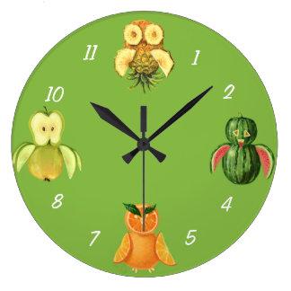 Hiboux de fruit horloge
